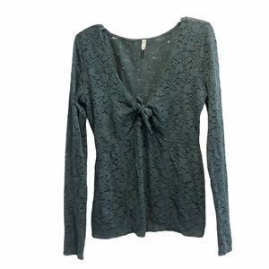 Free People intimately green lace top long shirt